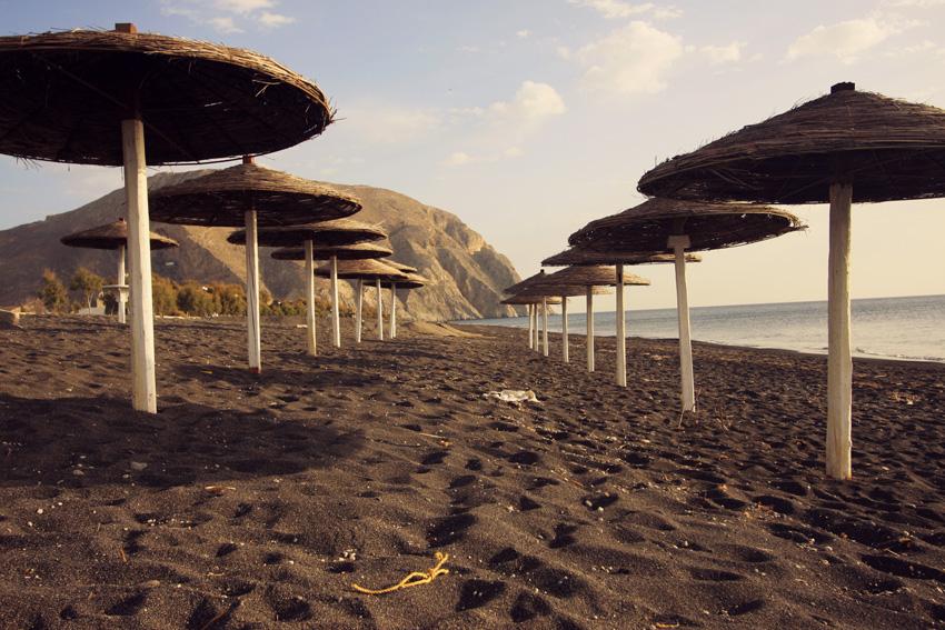 Black sandy beach in Santorini